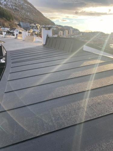 Nytt tak ferdig på landås Taket er tekket med protan sitt pvc takbelegg. Vi har også pyntet med omega profiler for å gi taket et mer eksklusivt preg